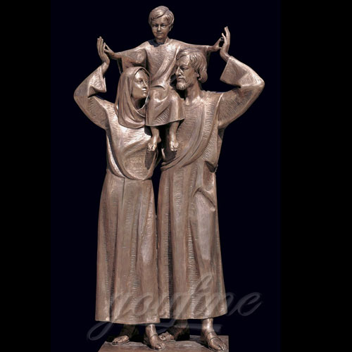 Bronze Christian Holy Family Statue Mother Virgin Mary and Baby Jesus Lord Statues