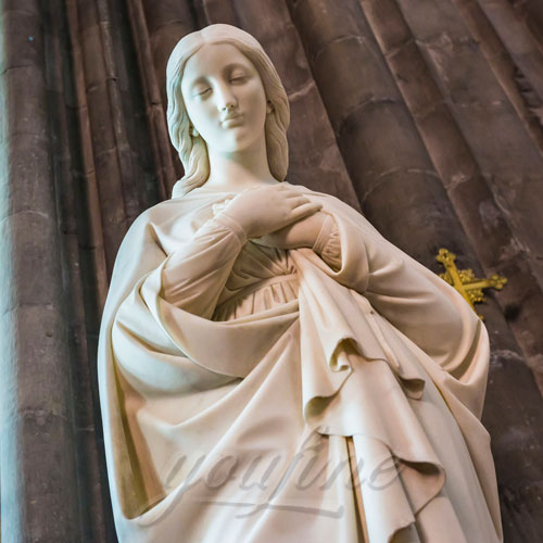 Exquisite Carved Marble Virgin Mary Statue for Sale