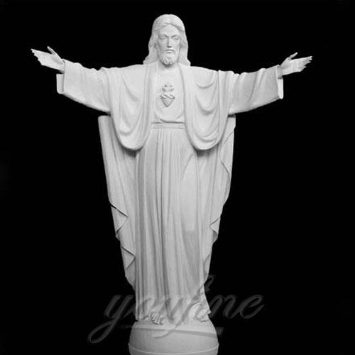 Home Interior Decorative White Marble Jesus Statue with Open Hand Interior Statue,