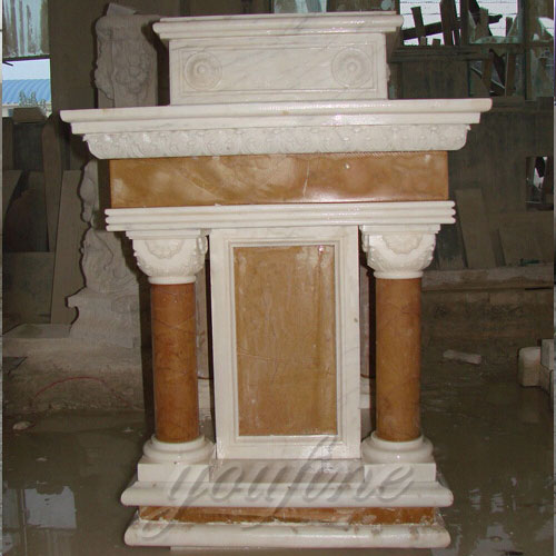 Modern Holy Hand Carved White Marble Pulpit for Church Decor for Sale
