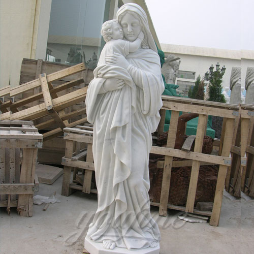 Outdoor Garden Sculpture Virgin Mary and Jesus Catholic Figures Statue for Sale