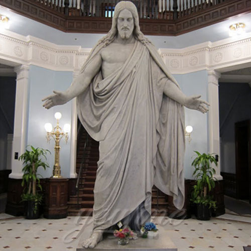 Praying Home Interior Decorative White Marble Jesus with Open Hand
