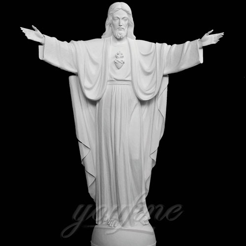 Praying with Open Arm White Natural Marble Jesus Statue on Sale