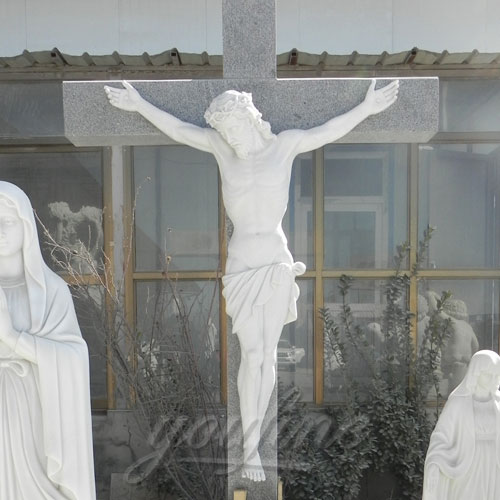 Religious Statues White Marble Jesus Statue with Cross for Church