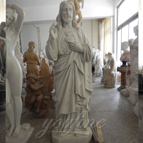 Sale Carved Garden Marble Decorative Sacred Heart Jesus Statues
