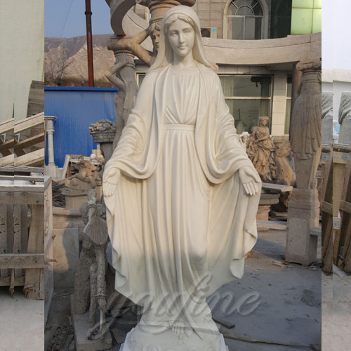 With Hand Open Outdoor White Marble Virgin Mary Statue for Hot Sale