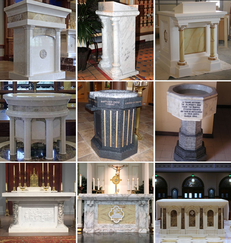 marble pulpit and altar sculpture